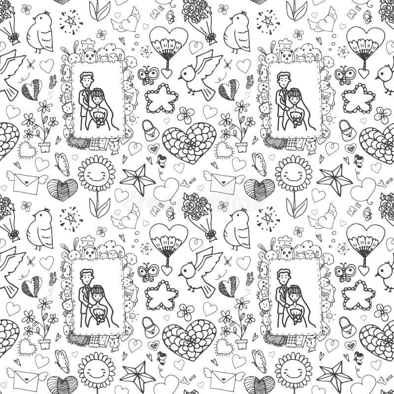 Klottervektorfrihandsteckning av förälskelsemodellen som är sömlös på vit bakgrund stock illustrationer