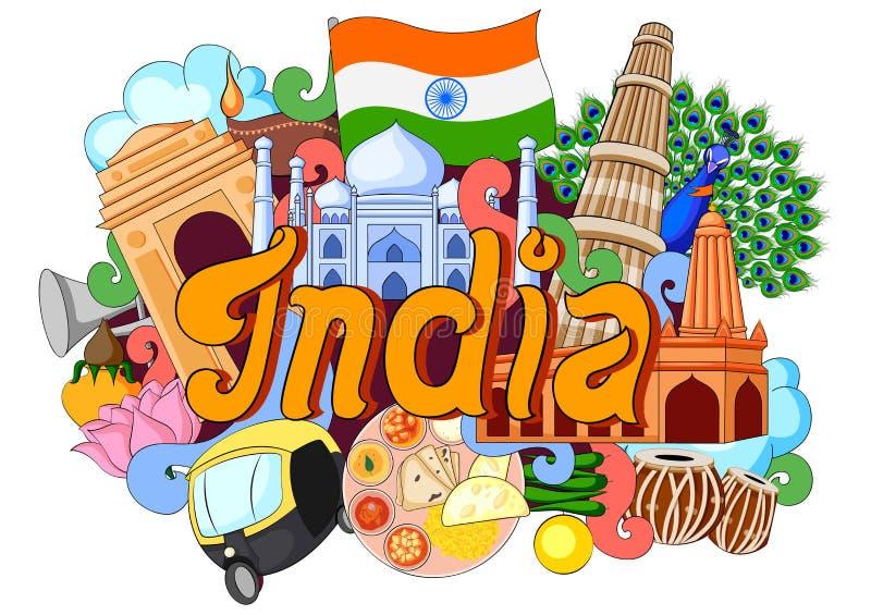 Klottervisningarkitektur och kultur av Indien stock illustrationer