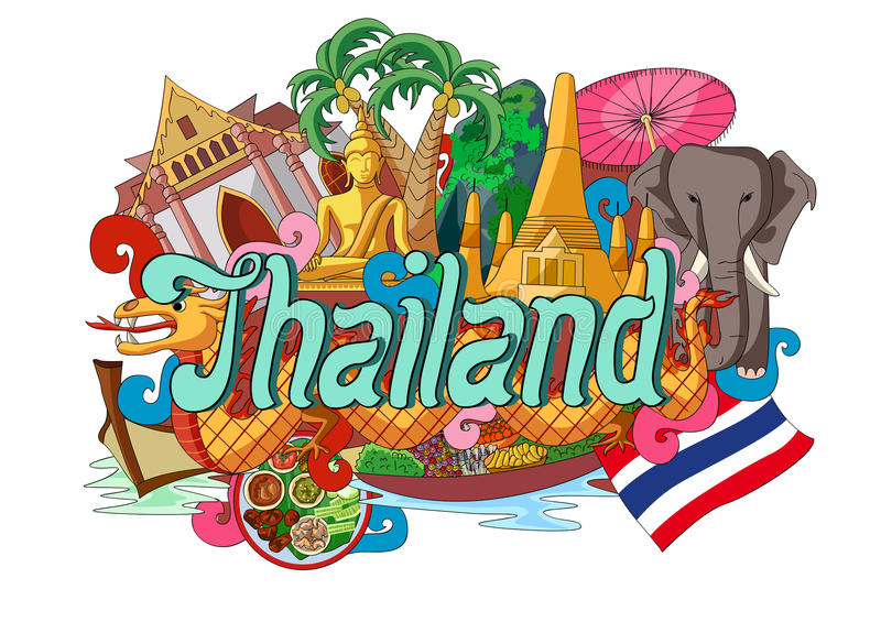 Klottervisningarkitektur och kultur av Thailand royaltyfri illustrationer