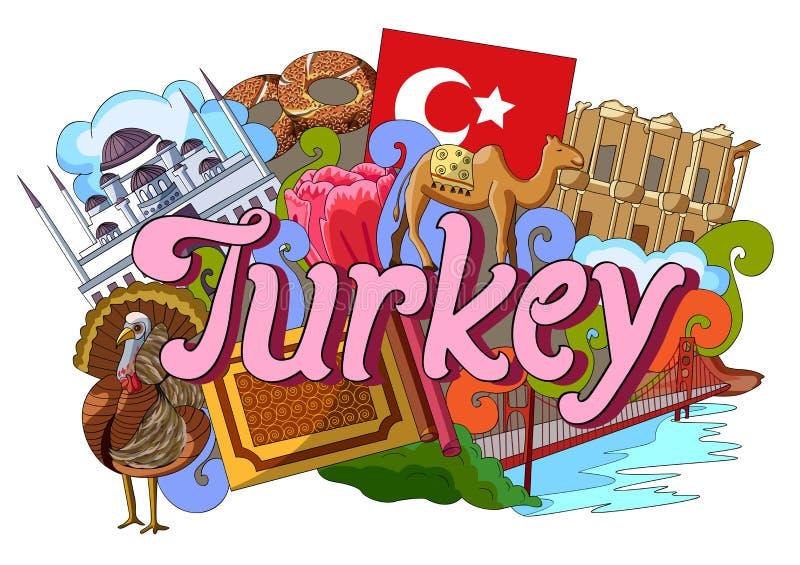 Klottervisningarkitektur och kultur av Turkiet vektor illustrationer