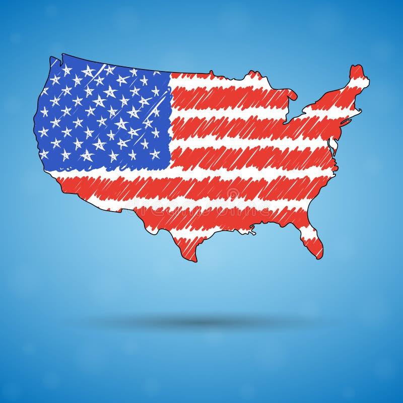 Klottra översikten av Amerikas förenta stater Skissa landsöversikten för infographic, broschyrer, och presentationer, stiliserade stock illustrationer
