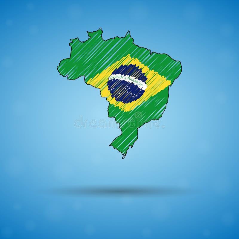 Klottra översikten av Brasilien Skissa landsöversikten för infographic, broschyrer, och presentationer, Stylized skissar översikt royaltyfri illustrationer