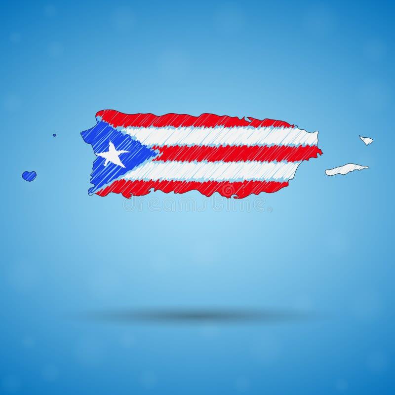 Klottra översikten av Puerto Rico Skissa lands?versikten f?r infographic, broschyrer, och presentationer, Stylized skissar ?versi royaltyfri illustrationer