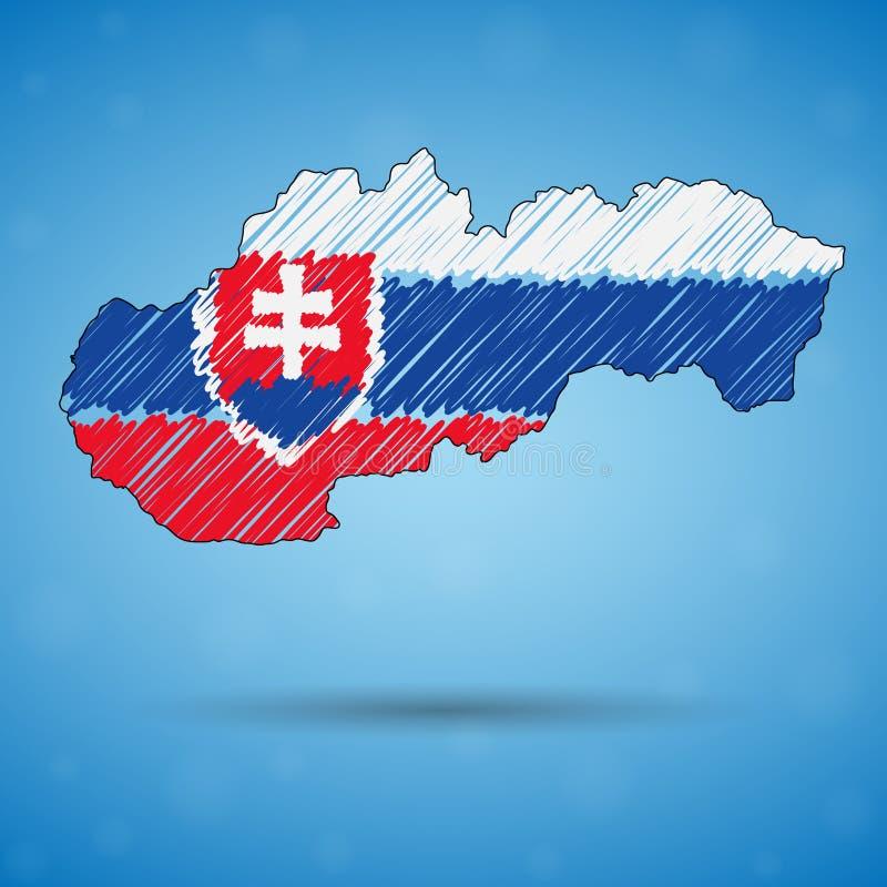 Klottra översikten av Slovakien Skissa lands?versikten f?r infographic, broschyrer, och presentationer, Stylized skissar ?versikt stock illustrationer