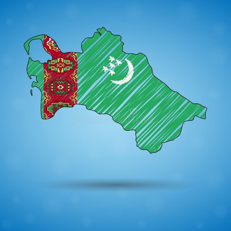 Klottra översikten av Turkmenistan Skissa lands?versikten f?r infographic, broschyrer, och presentationer, Stylized skissar ?vers vektor illustrationer