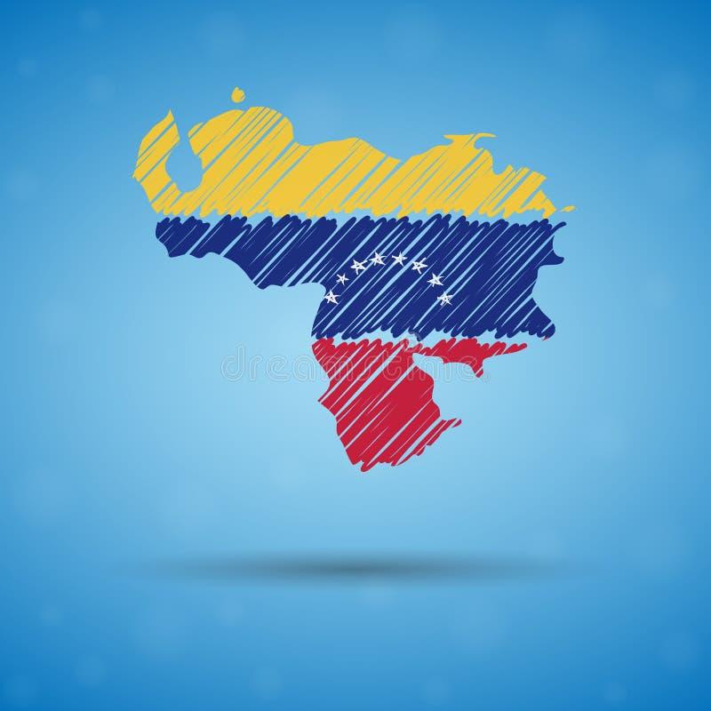 Klottra ?versikten av Venezuela Skissa lands?versikten f?r infographic, broschyrer, och presentationer, Stylized skissar ?versikt stock illustrationer