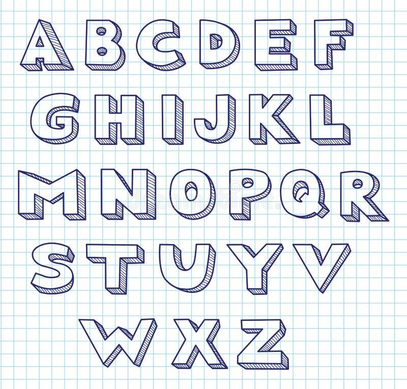 Klottra alfabetet. stock illustrationer