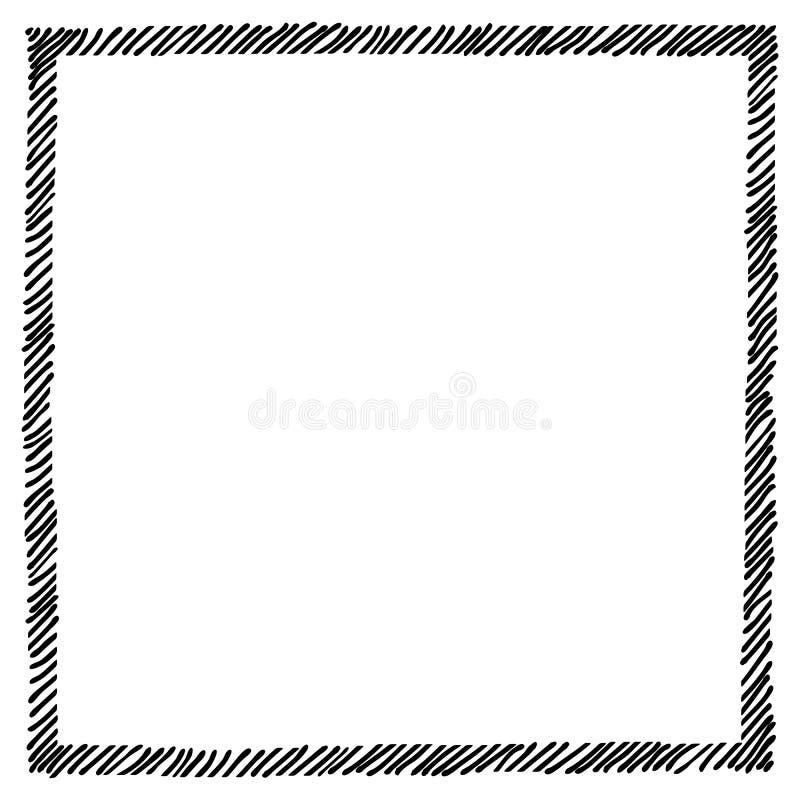 Klottra att kl?cka l?ngs kantramfyrkanten Hand drog symboler Sketches skuggade och kl?ckte emblem och slagl?ngdformer monokrom stock illustrationer