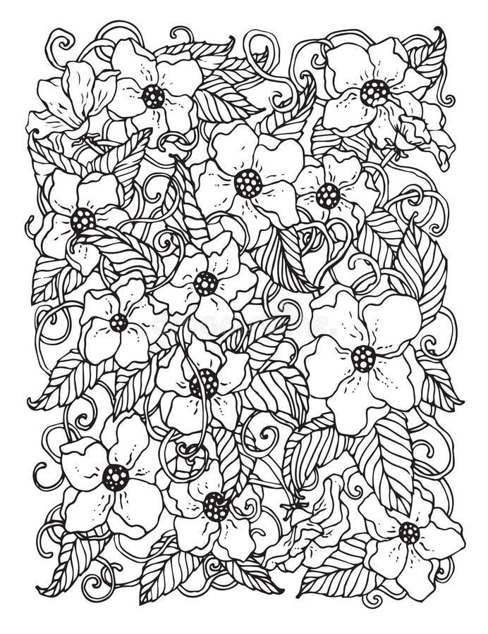 Klottra bakgrund i vektor med klotter, blommor och paisley svart white vektor illustrationer