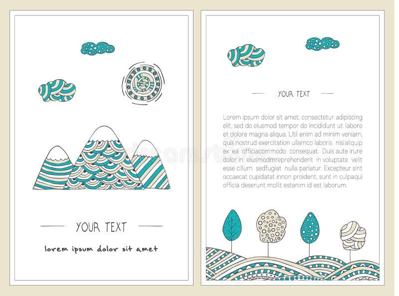 Klottra berg, träd, solen och kullar Vertikal baneruppsättning Stilfullt hand drog illustrationer royaltyfri illustrationer