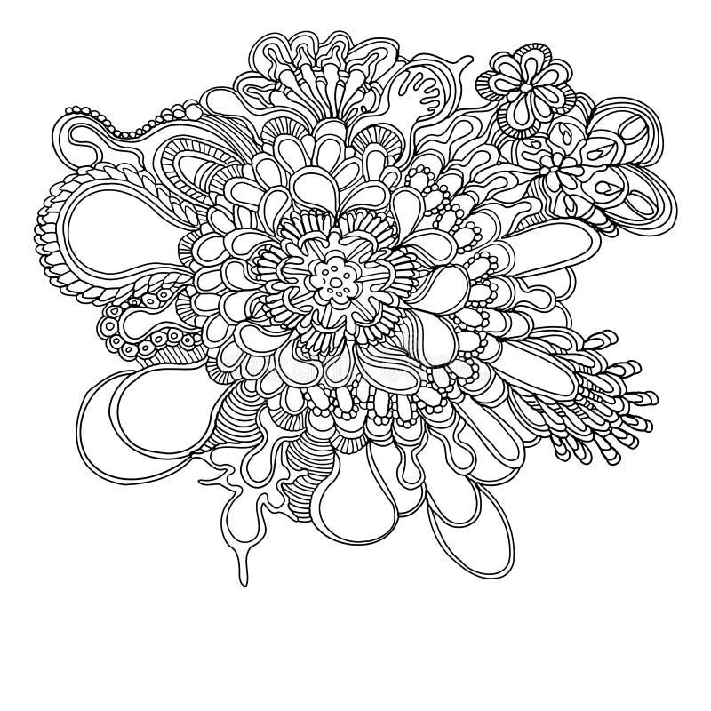 Klottra blom- och snöra åt drog modellen för stil handen royaltyfri foto