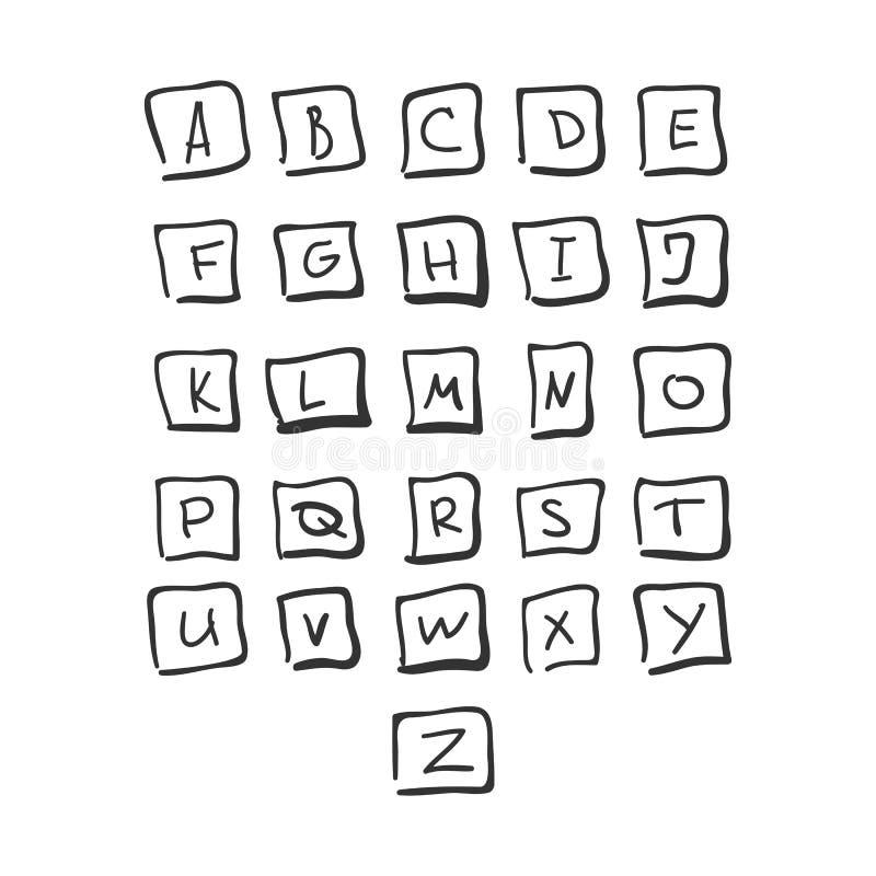 Klottra den fyrkantiga dragen alfabetsvart för stilsorten handen stock illustrationer