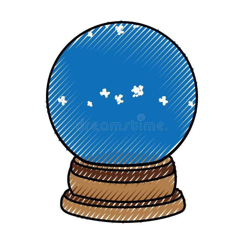 Klottra den glass snöbollen för jul royaltyfri illustrationer