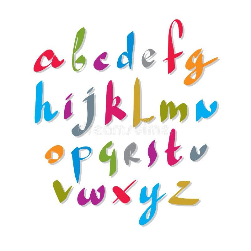 Klottra den handskrivna stilsorten, det vektor borstade alfabetet stock illustrationer