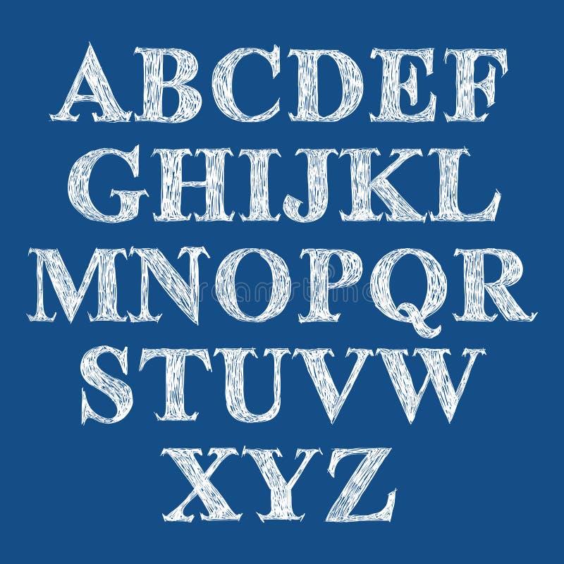 Klottra den handskrivna stilsorten, det vektor borstade alfabetet royaltyfri illustrationer