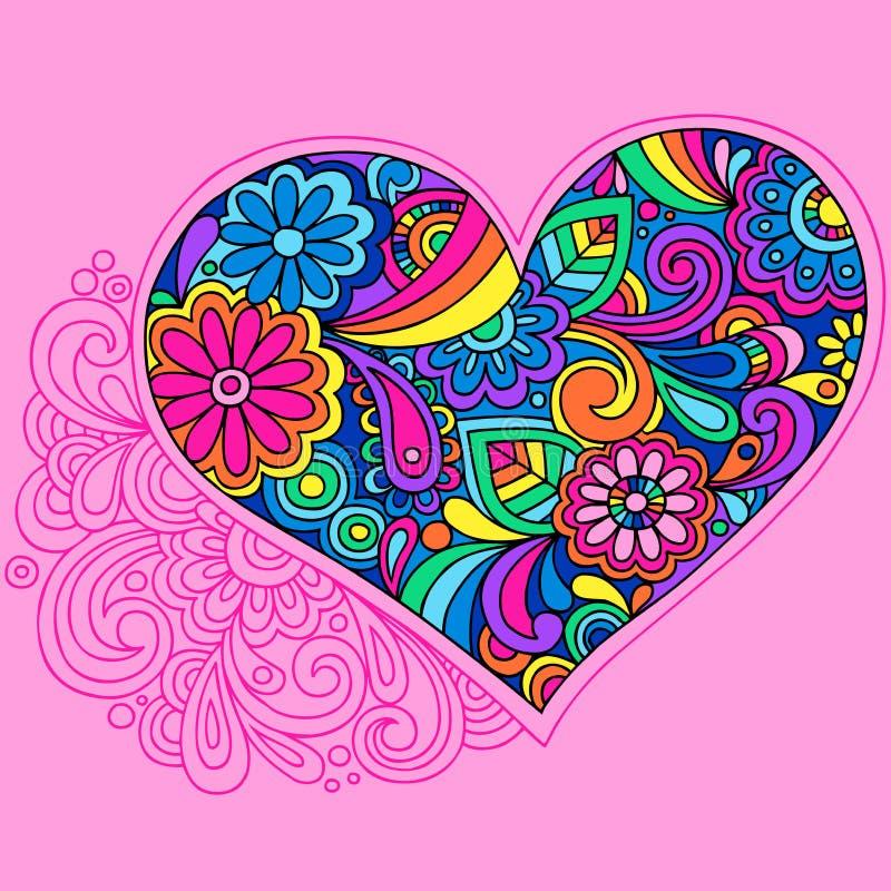 klottra den psychedelic vektorn för hjärta royaltyfri illustrationer