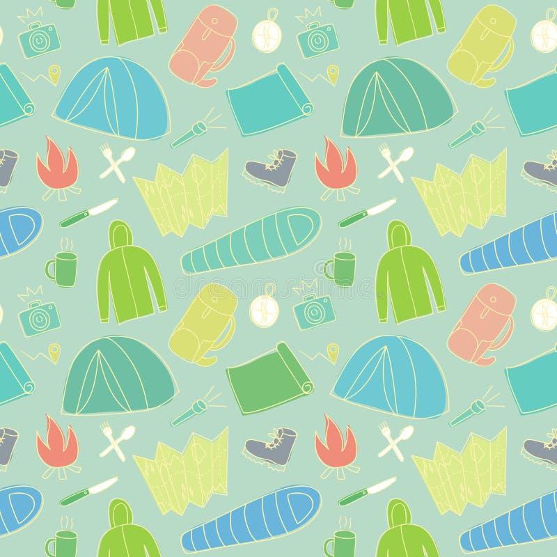 Klottra den sömlösa modellen av fotvandra och campa material royaltyfri illustrationer