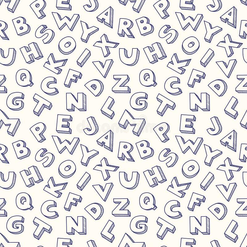 Klottra den sömlösa modellen för alfabetet. royaltyfri illustrationer