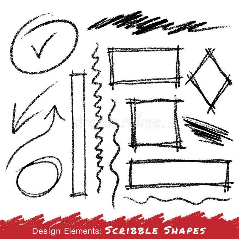 Klottra fläckhanden som med blyerts dras stock illustrationer