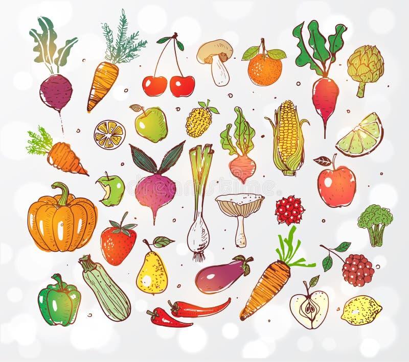 Klottra frukter och grönsaker på glödande bakgrund för vit Vektorn skissar illustrationen av sund mat vektor illustrationer