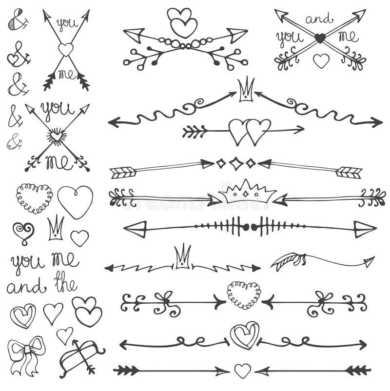 Klottra handen drog pilar, hjärtor, deviders, gränser vektor illustrationer