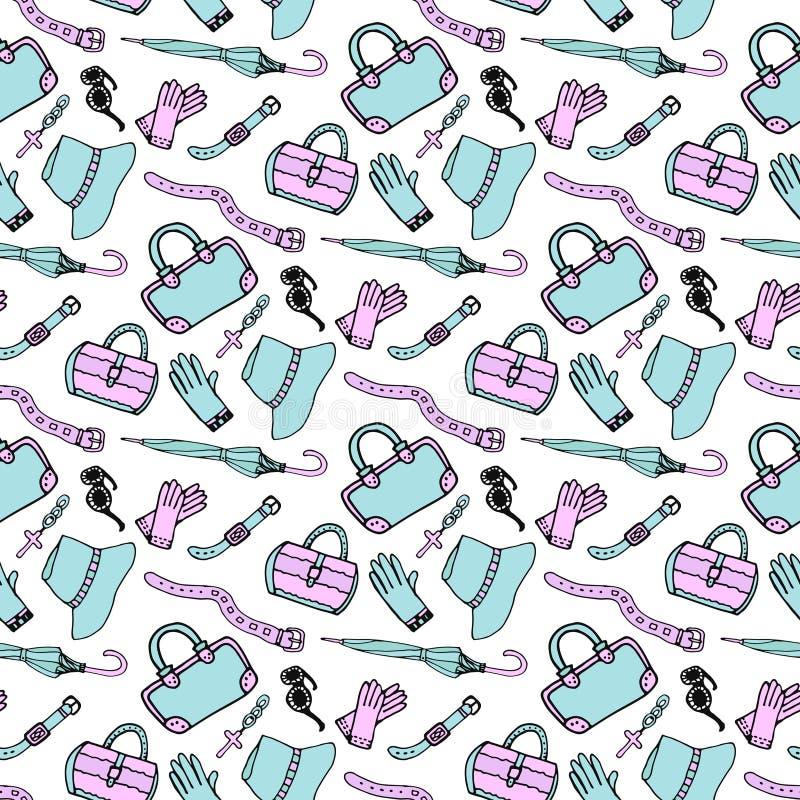 Klottra handen drog sömlösa modellen för för modetillbehör och handväskor i blått och rosa pastellfärgade färger Skissa shoppingb stock illustrationer