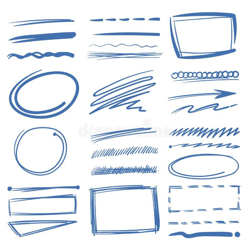 Klottra highlightervektorbeståndsdelar, skissa cirklar, räcka den utdragna understrykningen, blyertspennafläckar vektor illustrationer