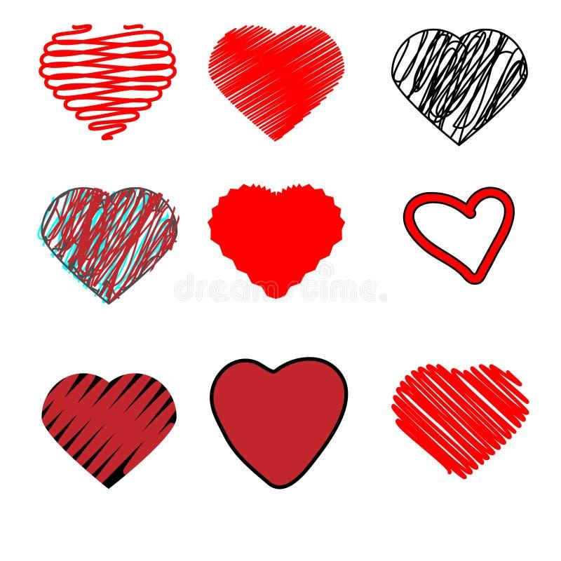Klottra hjärtor handen dragen klotterhjärta formar symboler, isolerade designbeståndsdelar stock illustrationer