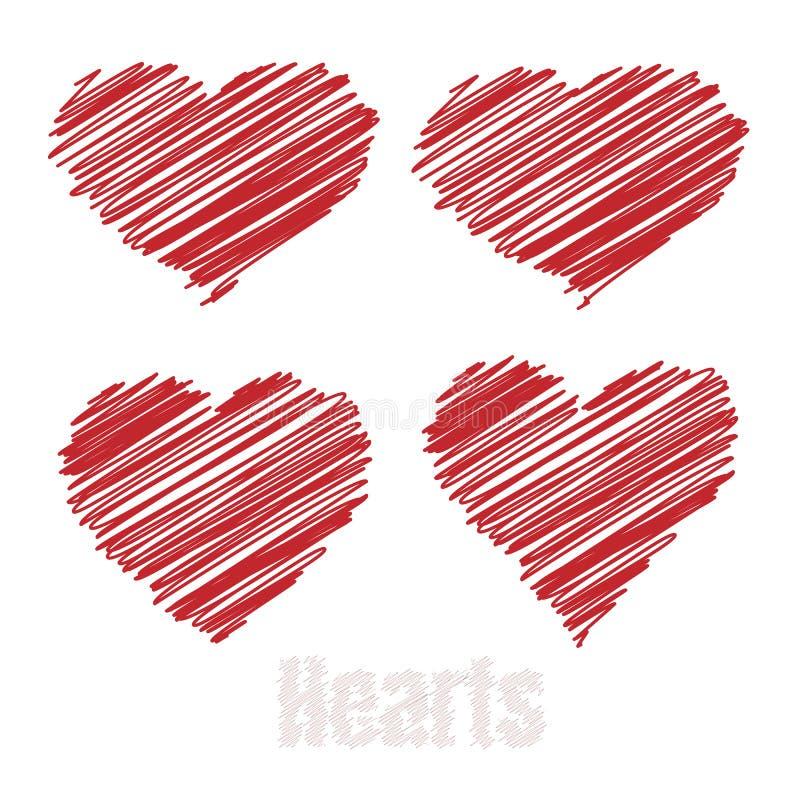 Klottra hjärtor, röda teckningshjärtor, vektorillustration stock illustrationer