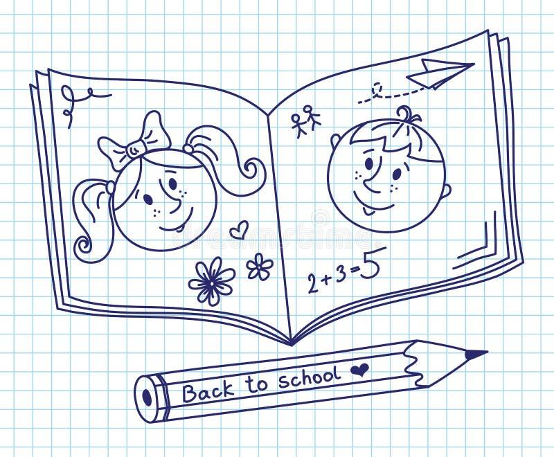 Klottra i enbok. Pojke och flicka. royaltyfri illustrationer