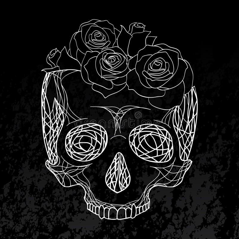 Klottra illustrationen av en mänsklig skalle med rosor vektor illustrationer