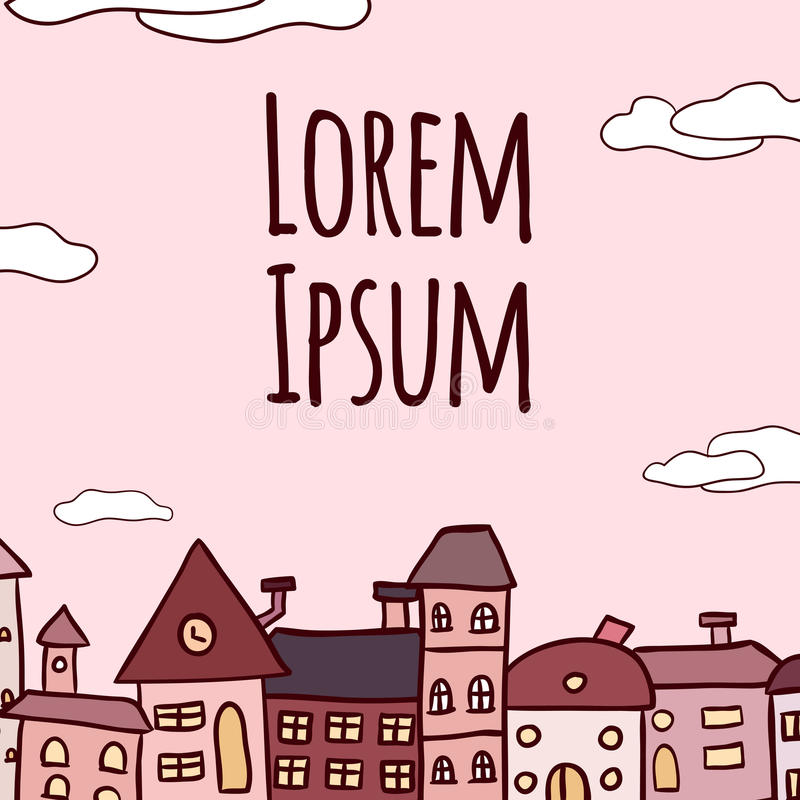 Klottra illustrationen av hus i rad med utrymme för en text stock illustrationer