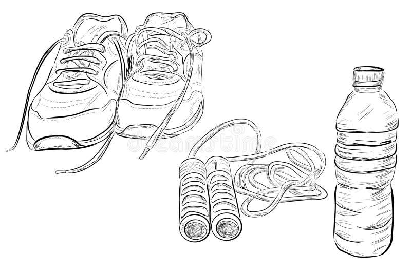 Klottra illustrationen av sund livstil, sportskor och att hoppa/överhopprepet och den genomskinliga mineralvattenflaskan royaltyfri illustrationer