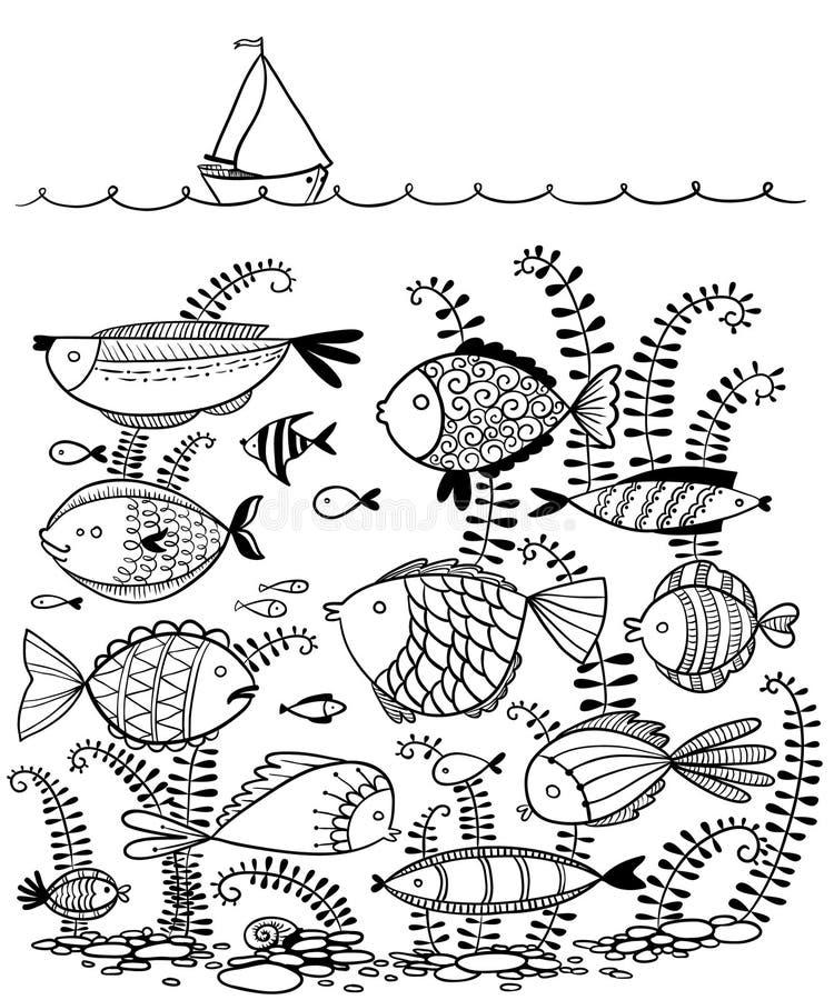 Klottra illustrationen med undervattens- fiskar och seglingskeppet vektor illustrationer
