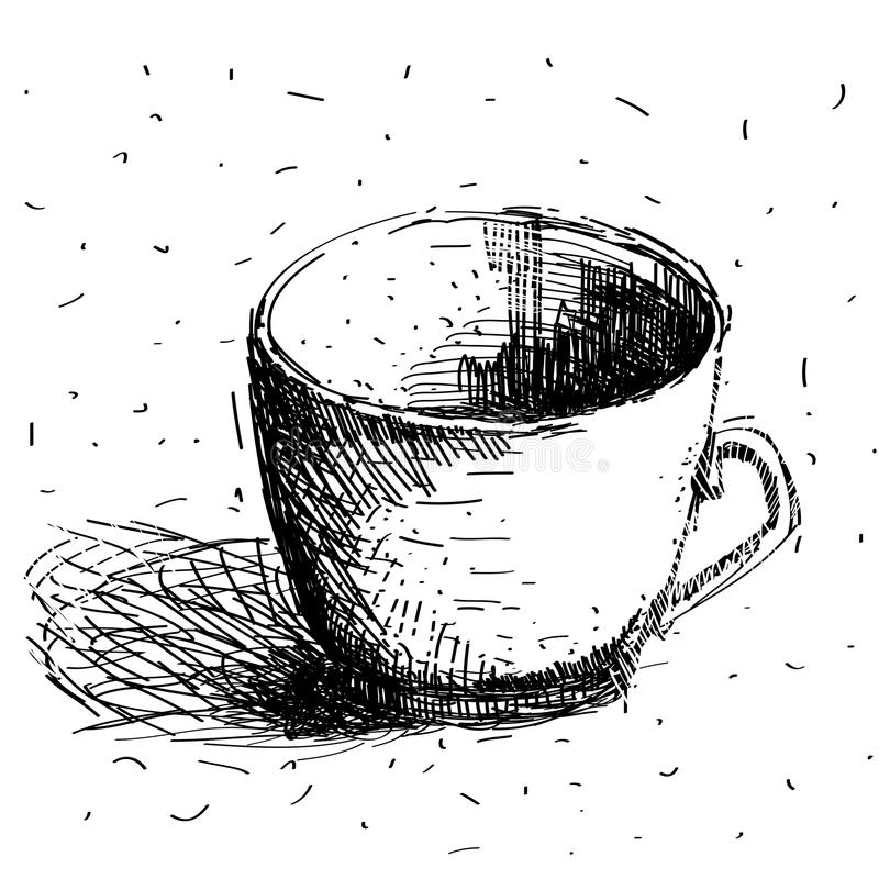 Klottra kaffekoppen som isoleras på vit bakgrund Handteckningen skissar royaltyfri illustrationer