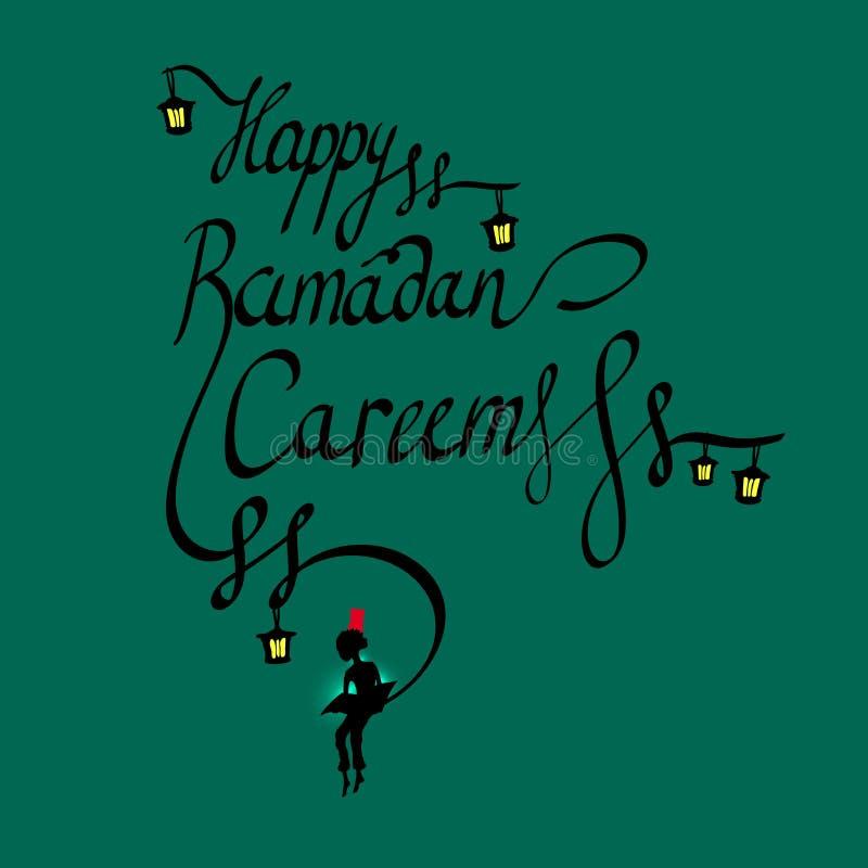 Klottra kalligrafitext lyckliga Ramadan Kareem och en pojke som läser den sakrala boken, arabisk islamisk helig månad av muslim stock illustrationer