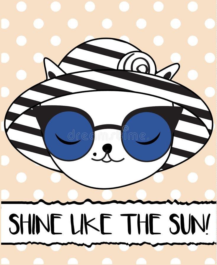 Klottra katten i trendiga sommarhatt- och solexponeringsglas royaltyfri illustrationer