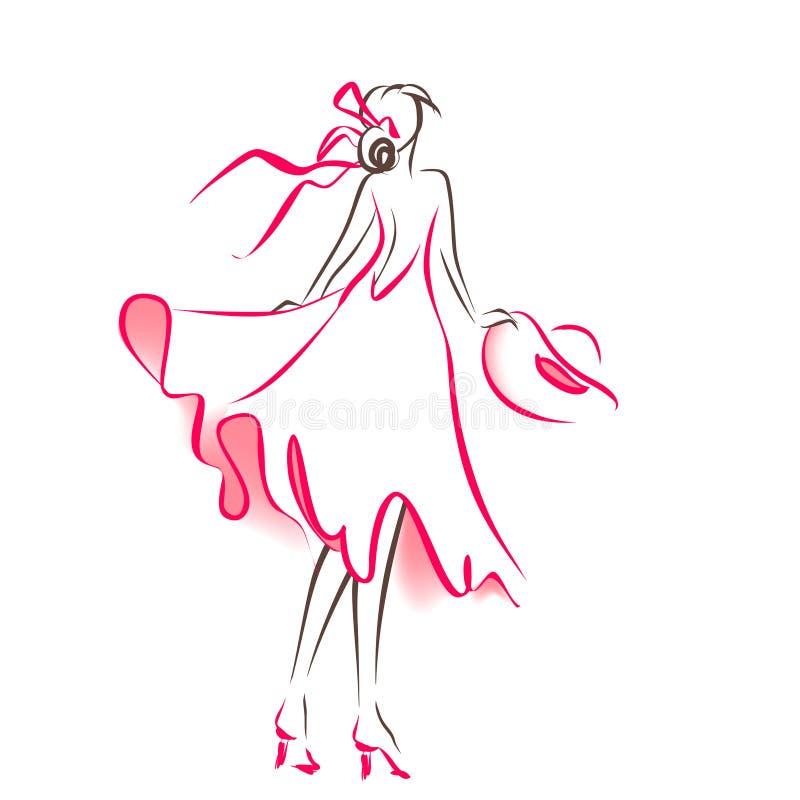 Klottra konturn av kvinnan vektor illustrationer