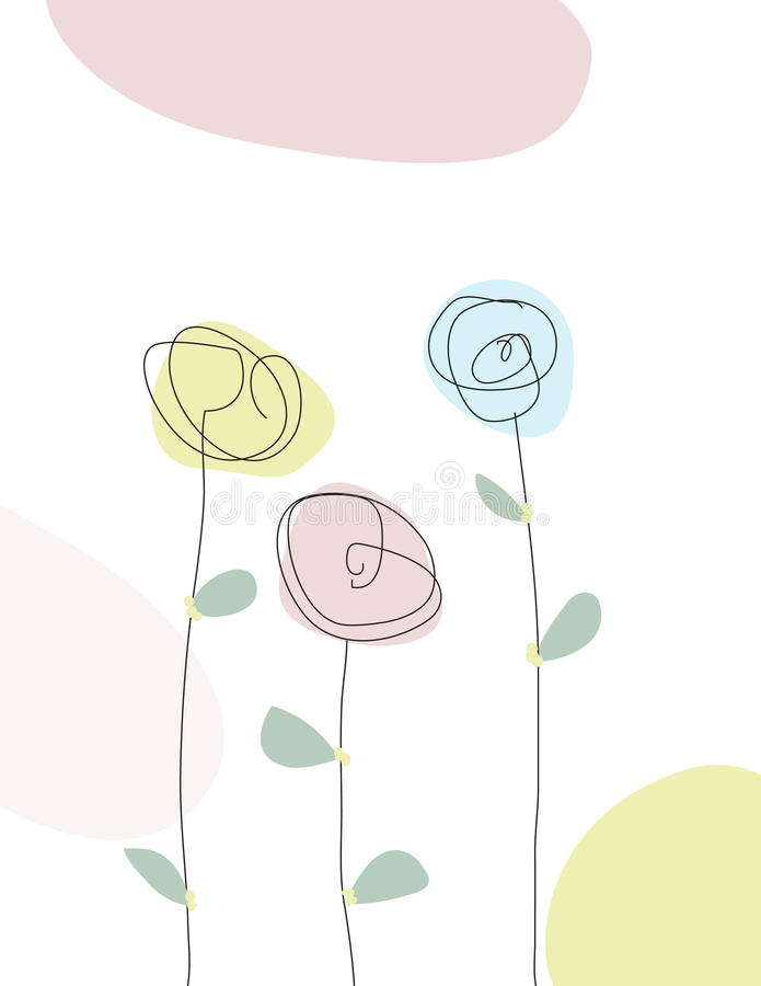 Klottra linjen teckning av vårblommor royaltyfri illustrationer
