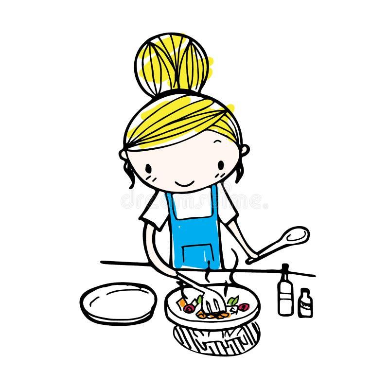 Klottra linjen vektor av gullig tecknad filmflickamatlagning i kök stock illustrationer