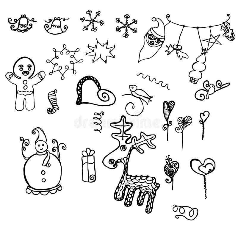 Klottra objekt för beståndsdelar för nya år diverse dekorativa royaltyfri illustrationer