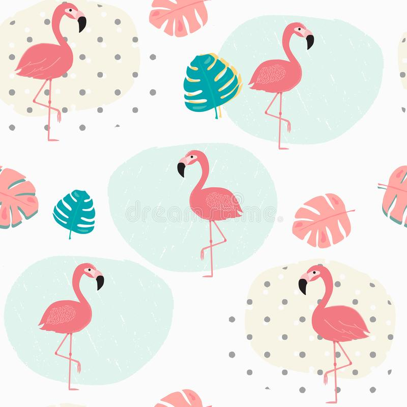 Klottra pastellfärgade tropiska sommarblad och sömlös bakgrund för rosa flamingomodell royaltyfri illustrationer