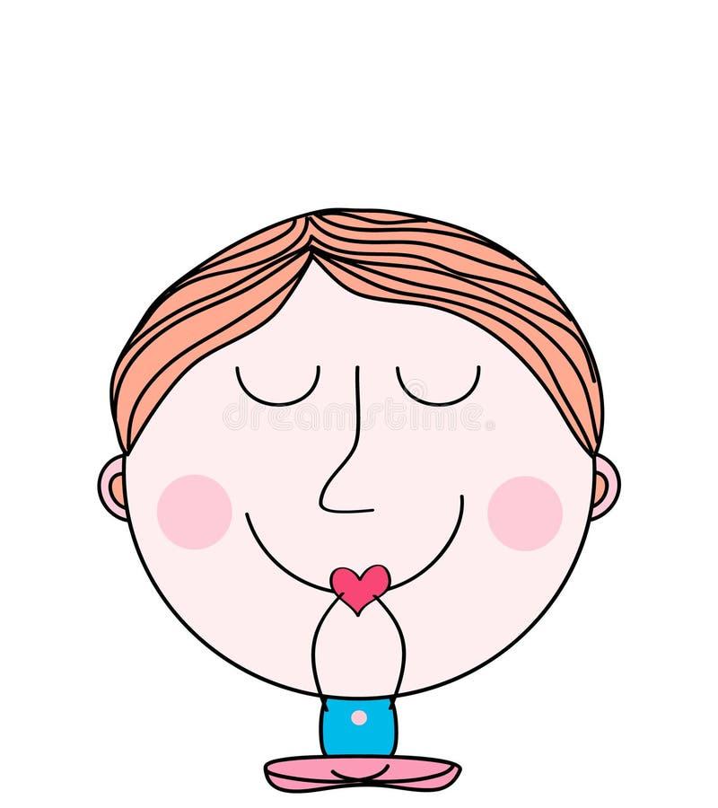 Klottra pojkesammanträdemeditationen, fridfullt begreppsbakgrund stock illustrationer