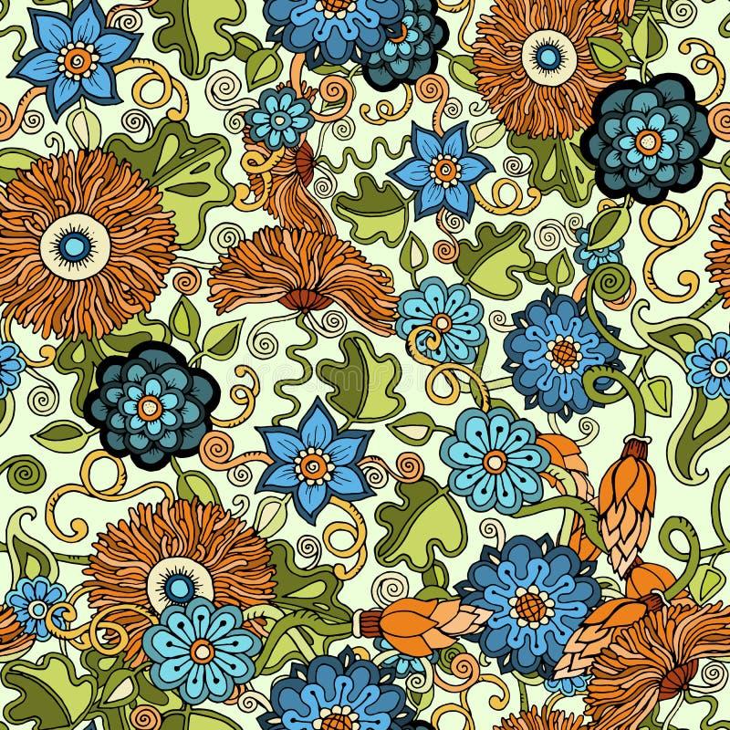 Klottra sömlös bakgrund i vektor med klotter, blommor och paisley För tapet modellpåfyllningar royaltyfri illustrationer
