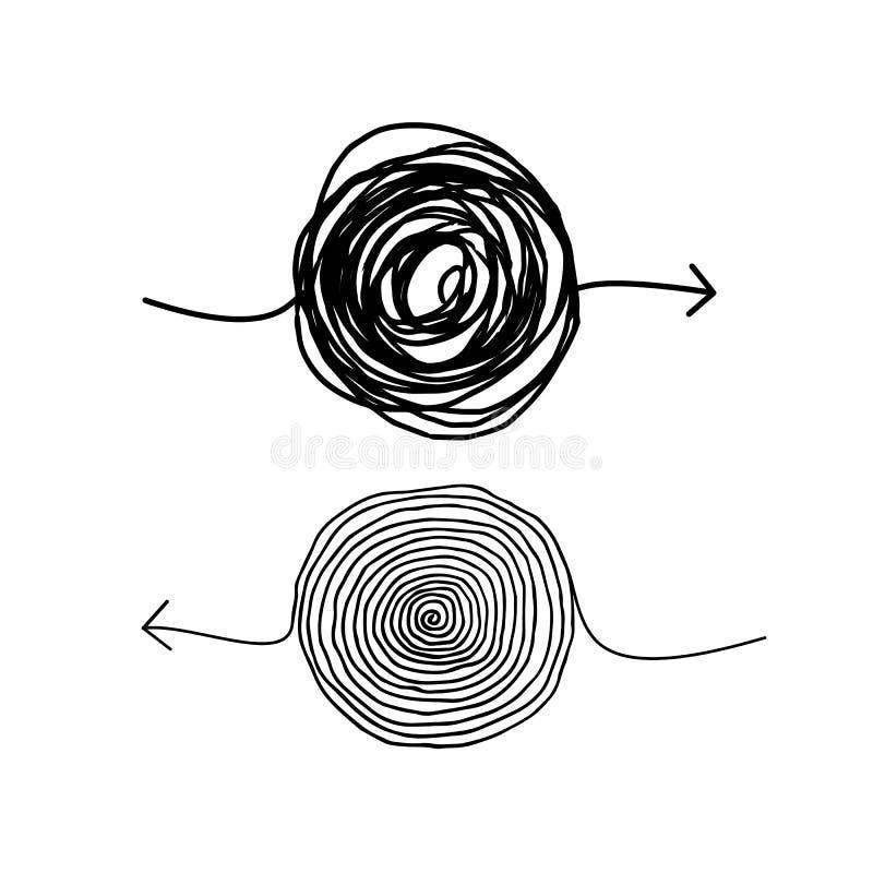 Klottra sinnessjuka pilar vektor illustrationer
