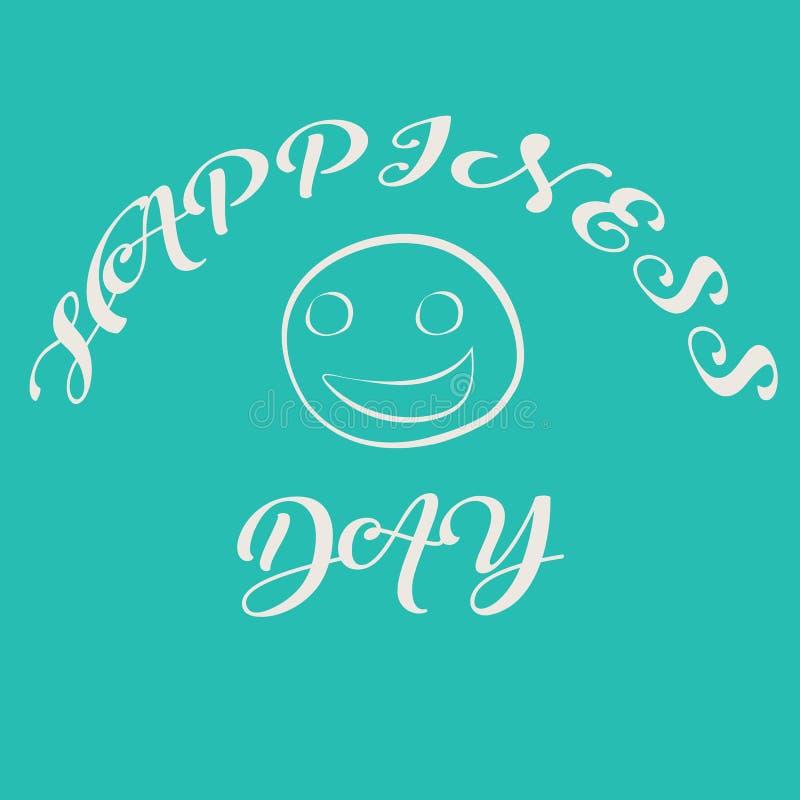 Klottra stilillustrationen för internationell dag för beröm av lycka, 20 marsch Le framsidan med text _ stock illustrationer
