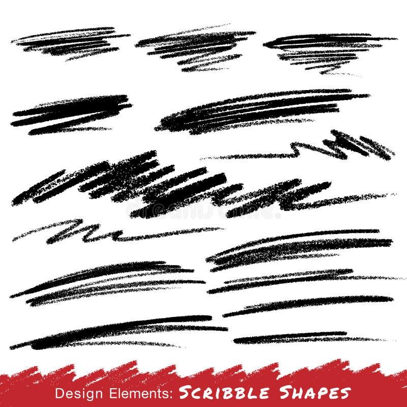 Klottra suddhanden som med blyerts dras vektor illustrationer