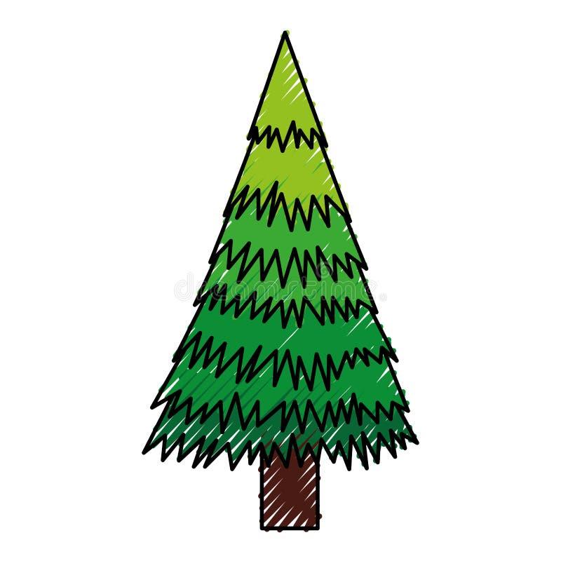 Klottra tecknade filmen för julträdet vektor illustrationer