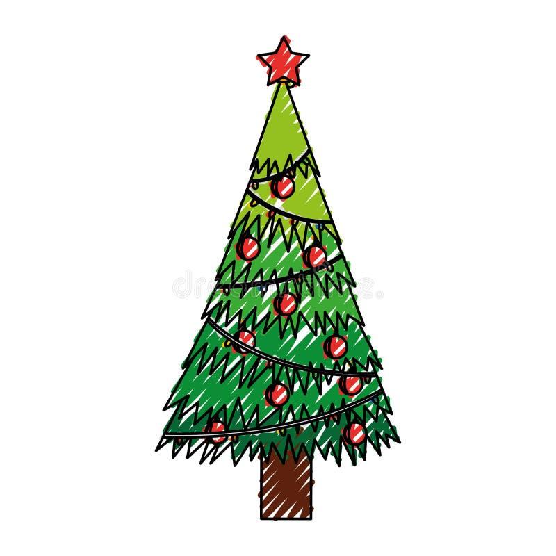Klottra tecknade filmen för julträdet stock illustrationer