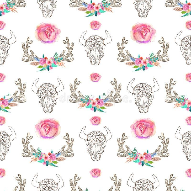 Klottra tjurskallen och horn med vattenfärgblommor och fjädrar royaltyfri illustrationer